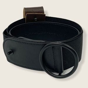 NEW Akris Punto Black Leather Elastic Belt O-Ring